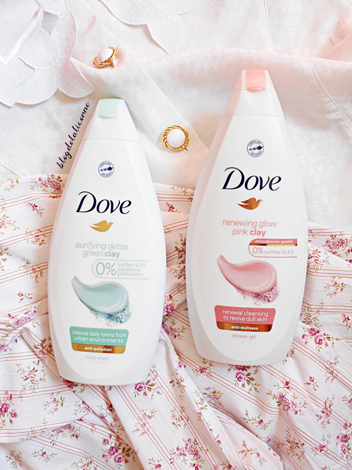 Dove Renewing Glow Pink Clay sprchový gél Dove Purifying Detox Green Clay sprchový gél