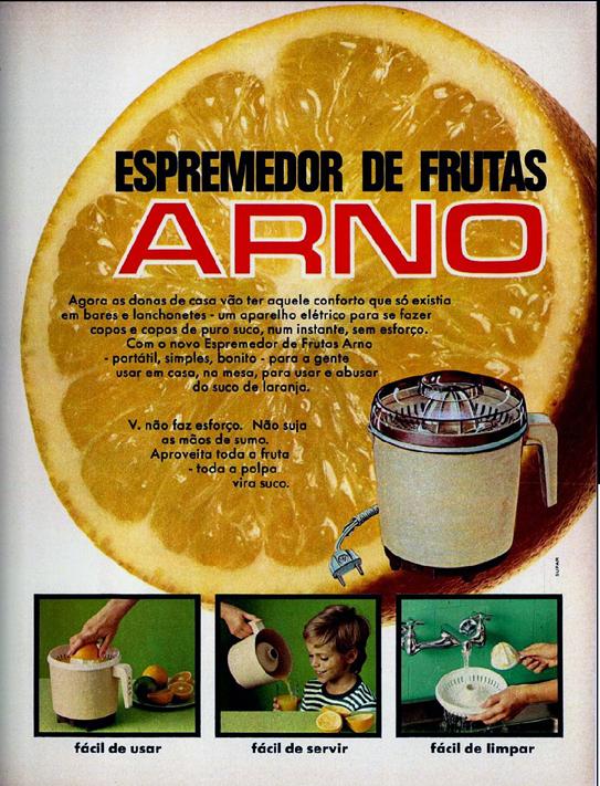 Propaganda dos anos 70 do Espremedor de Frutas da Arno