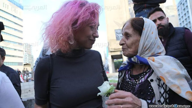 Two Lebanese ladies from different generations in the rally