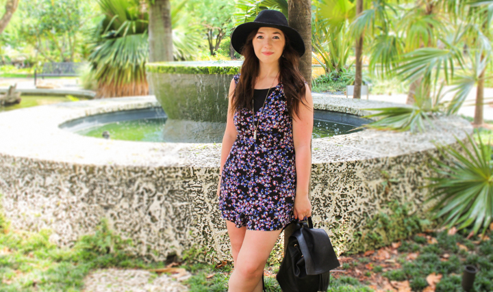 how-to-wear-a-romper, how-to-accessorize-a-romper, what-to-wear-with-a-romper, what-shoes-to-wear-with-a-romper, express-floral-cut-out-romper, how-to-wear-a-bralette, how-to-wear-a-caged-bralette, how-to-wear-slide-on-sandals, how-to-wear-a-wide-brimmed-fedora, what-to-wear-with-a-wide-brimmed-fedora, accessories-that-go-with-rompers, forever-21-caged-cut-out-bralette, express-wide-brimmed-felt-fedora-hat, express-rectangle-reversible-pendant, forever-21-fringe-mini-backpack, express-two-strap-slide-sandals, how-to-wear-a-long-pendant-necklace