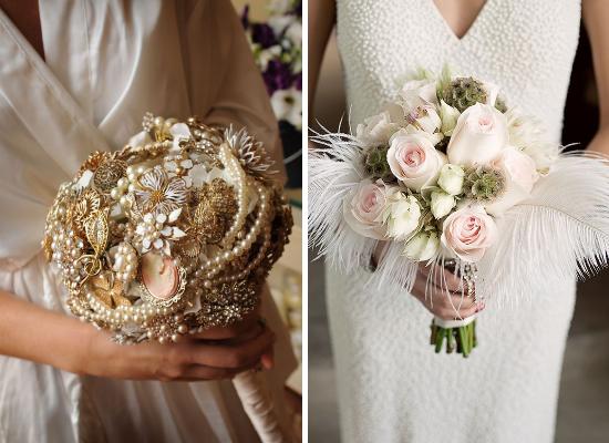 Great Gatsby wedding bouquet, brooches bouquet