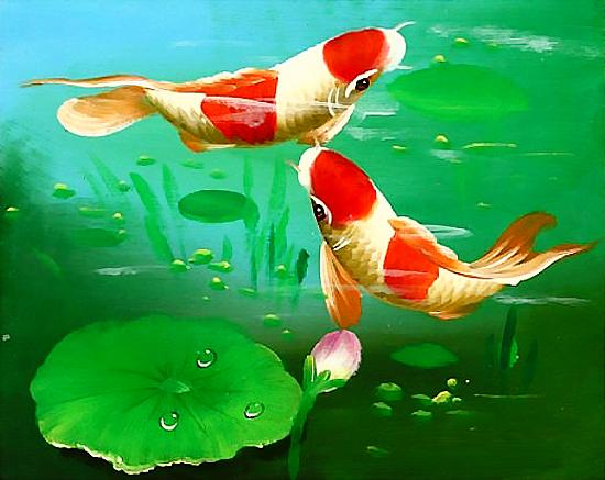 Bức Tranh Sơn Dầu Cá Chép Hoa Sen