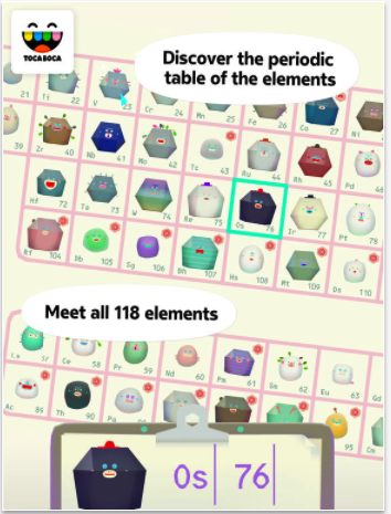 toca lab elements is a place for playing and having fun and with it we hope to inspire kids to explore science while the periodic table in toca lab