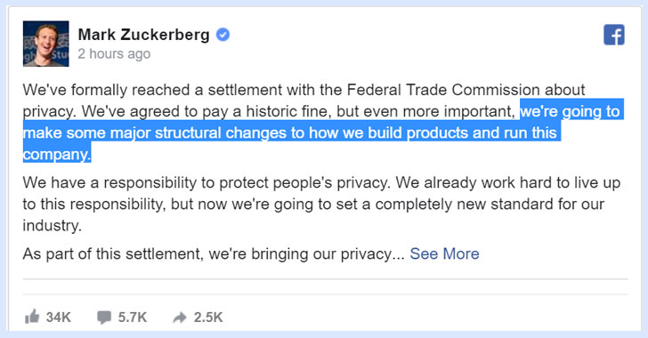 facebook privacy program mark zuckerberg
