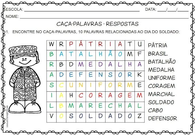 DIA DO SOLDADO - CAÇA-PALAVRAS