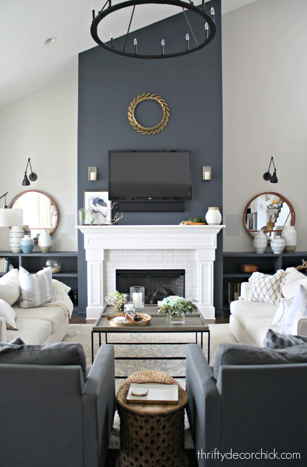 Symmetrical family room with tall fireplace