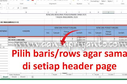 Print Titles, Manfaatkan untuk Membuat Header yang Sama Setiap Page Excel