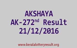 AKSHAYA AK 272 Lottery Results 21-12-2016