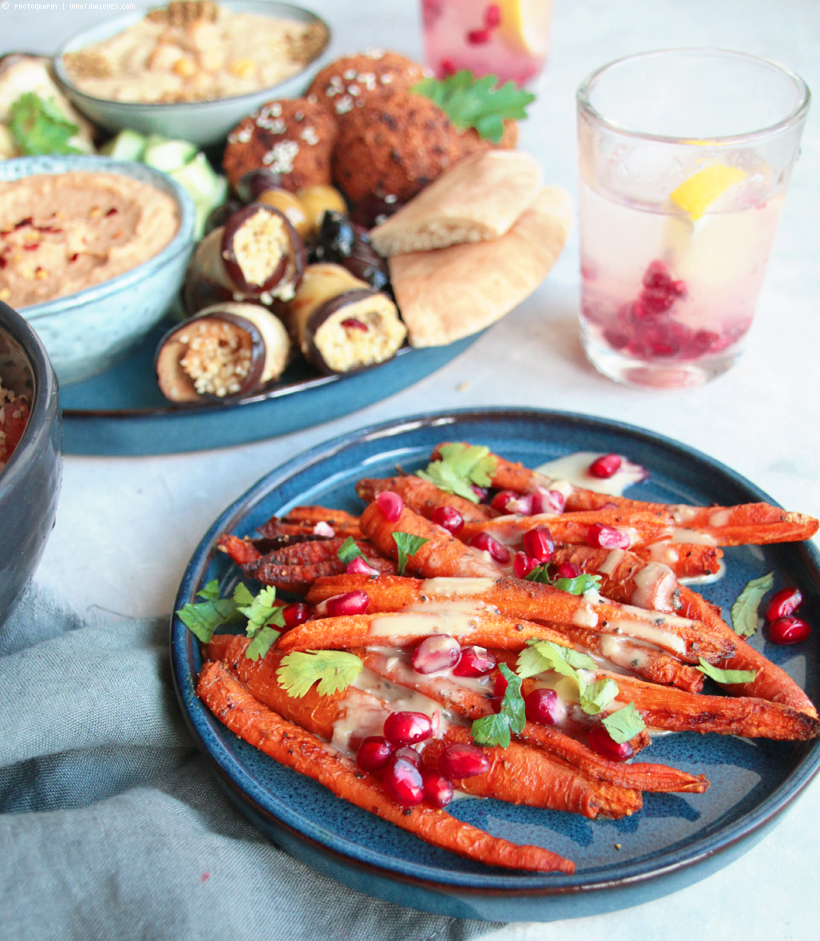 Arabic Plate / Hummus, Carrots, Couscous, Falafel | whatinaloves.com