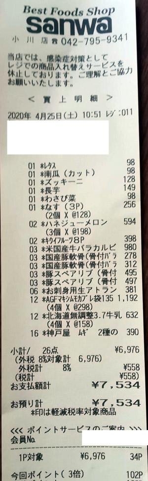 スーパー三和 小川店 2020/4/25 のレシート