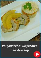 Polędwiczka wieprzowa a'la devolay polędwica dania obiadowe pomysł kreatywny dewolaj kotlet skwarki z gruszki kandyzowana gruszka na słodko