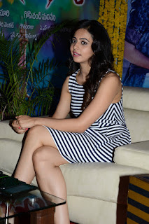 Rakul Preet Singh flaunting her beautgy in black white ped frock mini skirt