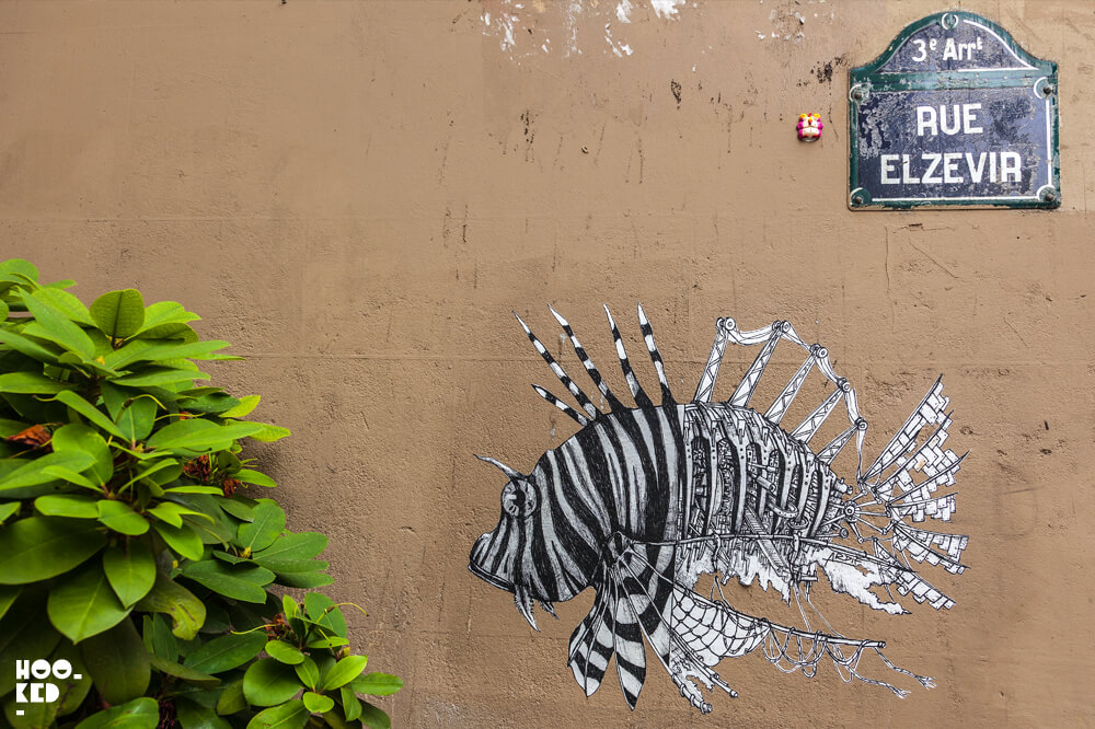 Mechanimals street art in Paris, France by artist Ardif