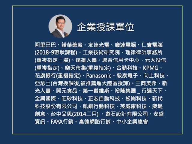 孫治華老師的企業授課單位