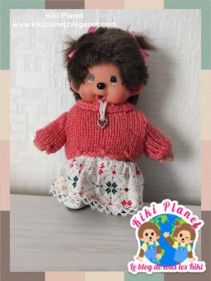 kiki Monchhichi handmade knitted sweater
