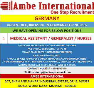 Medical Assistant Generalist Nurses for Germany
