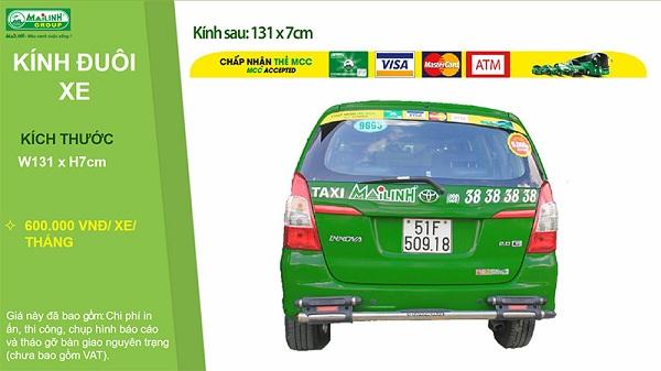 Báo giá dán Decal quảng cáo trên kính đuôi xe Taxi Mai Linh