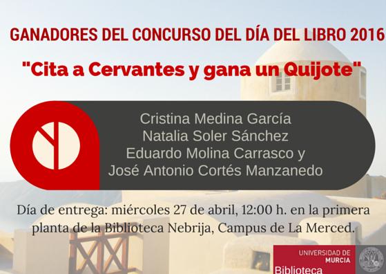 """Ganadores del concurso: """"Cita a Cervantes y gana un Quijote""""."""