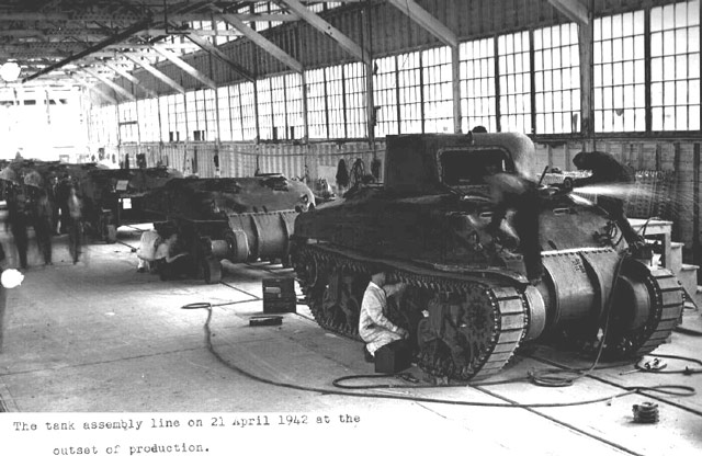 Sherman tank assembly line on 21 April 1942 worldwartwo.filminspector.com