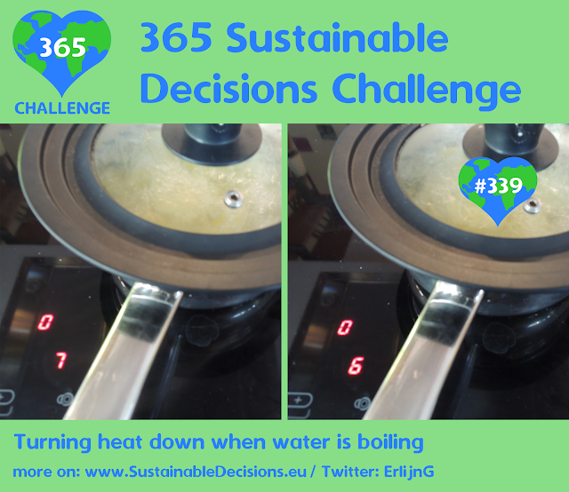 Turning heat down when water is boiling, Saving energy, sustainable living, climate action, sustainability