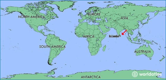 mapa mundi com o Sri Lanka