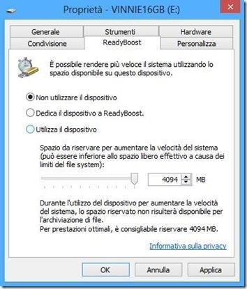 Windows 10 finestra opzioni ReadyBoost Non utilizzare il dispositivo