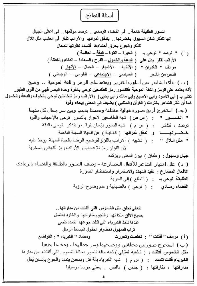 مراجعة ليلة الامتحان لغة عربية للصف الثالث الثانوي لعام 2021