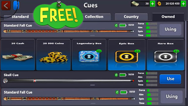 Free Cue Standard Free Cash 38 + 20 million coins Free Legendary Box 8 ball pool