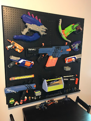 Nerf Storage, Kids bedroom ideas, Nerf Gun, Nerf Gun Pegboard