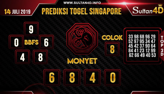 PREDIKSI TOGEL SINGAPORE SULTAN4D 14 JULI 2019