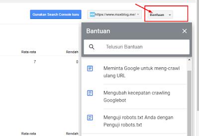 popup bantuan untuk mengubah kecepatan crawling google