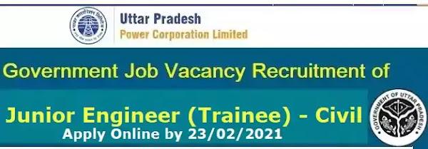 UPPCL Junior Engineer Trainee Civil Recruitment 2021