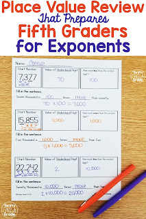 This free place value review helps prepare fifth graders for understanding exponents. Use it to review concepts taught in fourth grade as you prepare them for the deeper understanding they will encounter in fifth grade. 5.NBT.1 4.NBT.1