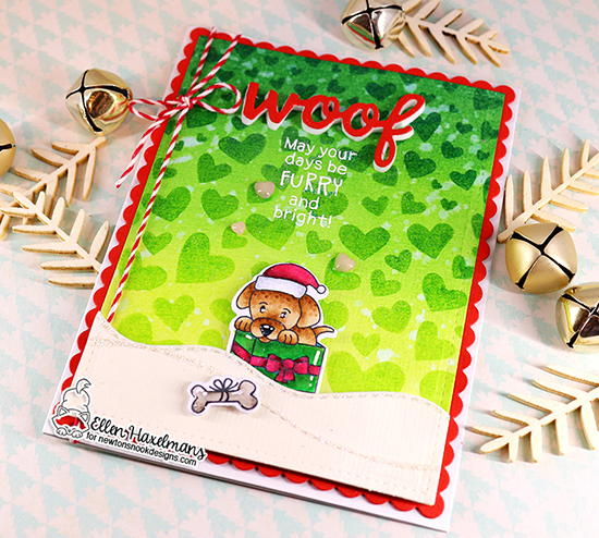 Dog in Christmas Gift Card by  Ellen Haxelmans | Puppy Present Stamp Set, Tumbling Hearts Stencil, Pawprint Shaker Die Set and Land Borders Die Set by Newton's Nook Designs #newtonsnook #handmade
