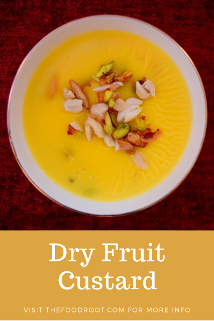 Dry Fruit Custard - Dry fruit custard is a simple recipe and made up with few ingredients: milk, sugar, dry fruits and custard powder.