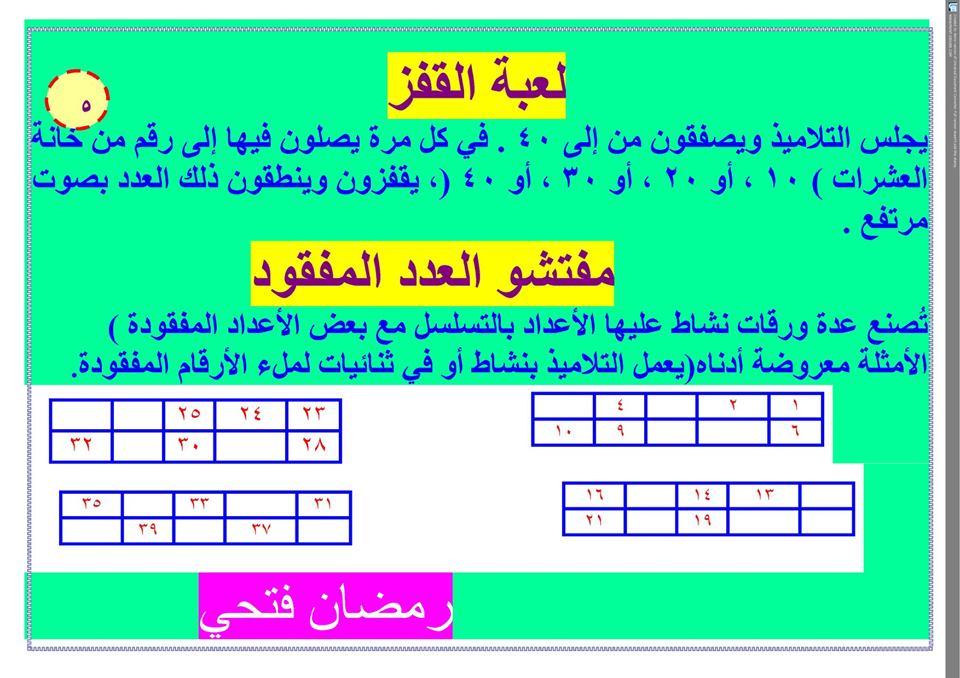 ألعاب نافذة الرياضيات للصف الأول الابتدائي ترم أول 5