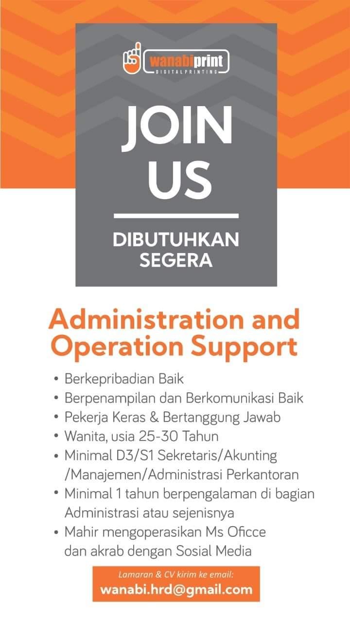 Info Loker Wanabiprint Salatiga Sebagai Administration and Operasional Support
