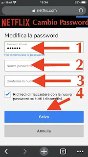 cambio password netflix in 1 click velocemente