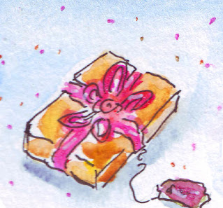 Watercolour drawing of a parcel in pink and gold