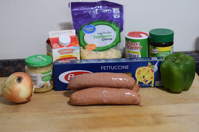 The ingredients needed to make the Instant Pot Cajun Pasta with Sausage Recipe.