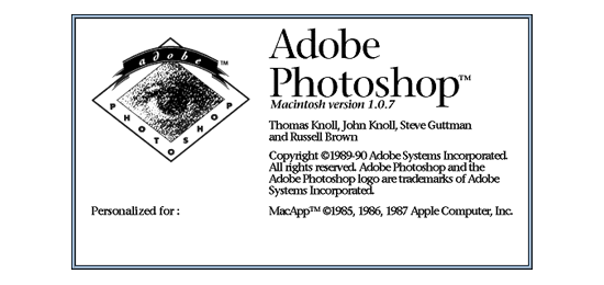 Photoshop splash screen 1990