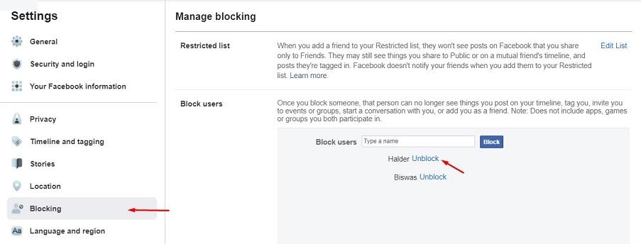 find block list on facebook