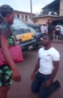 Desperate Man Kneels Down on the Street to Beg a Girl for Love in Enugu…But the Girl Shocks Him By Slapping Him… (VIDEO)