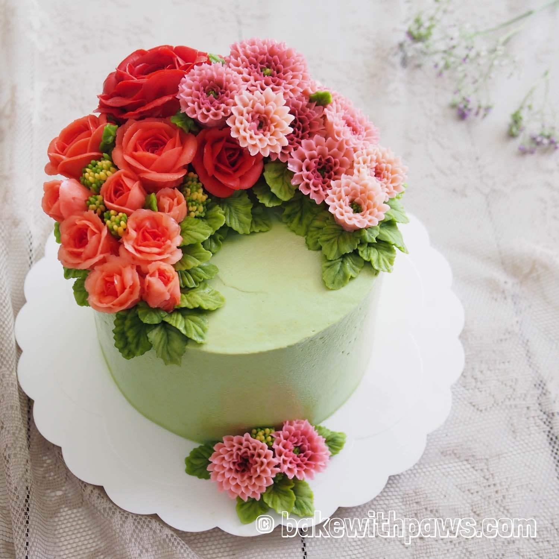 Stupendous Korean Style Buttercream Flowers Cake 33 Bake With Paws Personalised Birthday Cards Arneslily Jamesorg