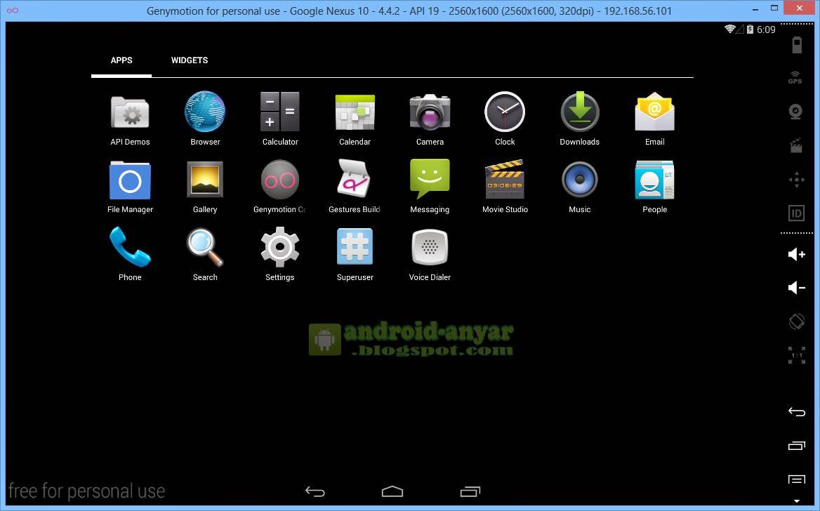 Tampilan Tablet pada Android Genymotion PC Windows