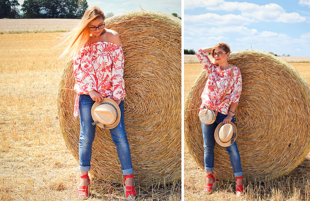 Summer Look, Style with denim and offshoulder Blouse, Print, Blouse