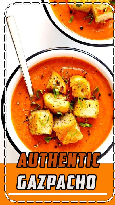 The BEST authentic gazpacho recipe! It's made with the best summer ingredients -- ripe tomatoes, cucumber, bell pepper, onion, garlic, plus the perfect balance of seasonings. Naturally healthy, gluten-free and vegan, and so delicious! | Gimme Some Oven #gazpacho #soup #healthy #dinner #recipe #spanish #glutenfree #vegan #raw #paleo