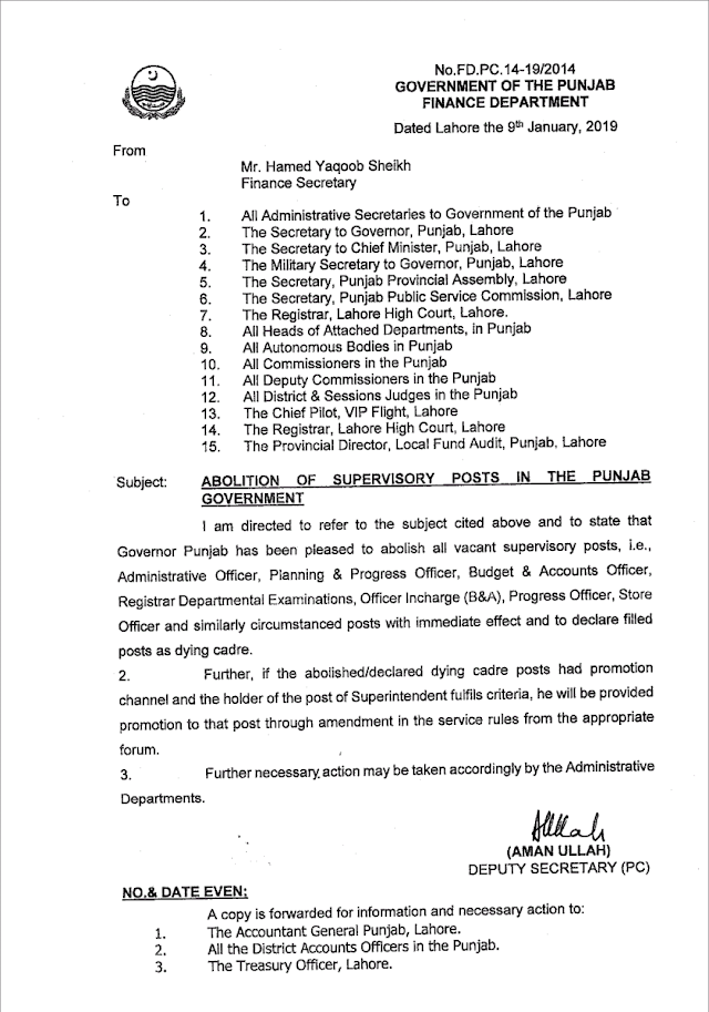 ABOLITION OF SUPERVISORY POSTS IN THE PUNJAB GOVERNMENT