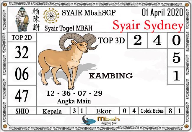 Prediksi Sidney Terjitu Rabu 01 April 2020 - Syair Mbah Sidney