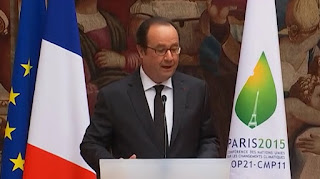 Francois Hollande at COP21 (Credit: Screenshot: elysee.fr) Click to Enlarge.